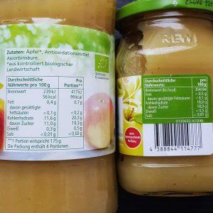 Zucker in Lebenssmitteln: die Nährwerttabelle verstehen - Beispiel Apfelmark vs. Apfelmus