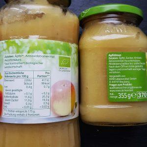 Apfelmark und Apfelmus Zutaten: zugesetzten Zucker erkennen