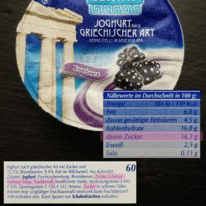 Brombeer Fruchjoghurt Zutaten und Nährwertabelle
