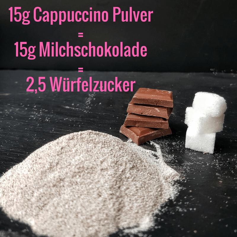 Cappuccinopulver, Milchschokolade und Würfelzucker (Zuckergehalt)