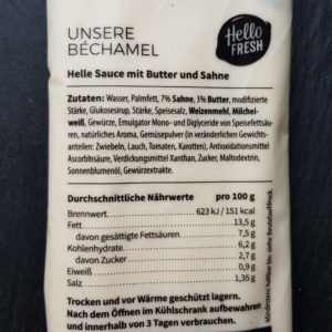 Kochbox HelloFresh Erfahrung - Beispiel Bechamel Sauce